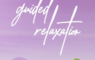 A background of rolling hills, all in purple, with the title 'guided relaxation' on top in white.