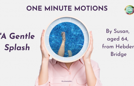 Person holding a clock in front of their face with the picture of some feet in a swimming pool inside the clock.