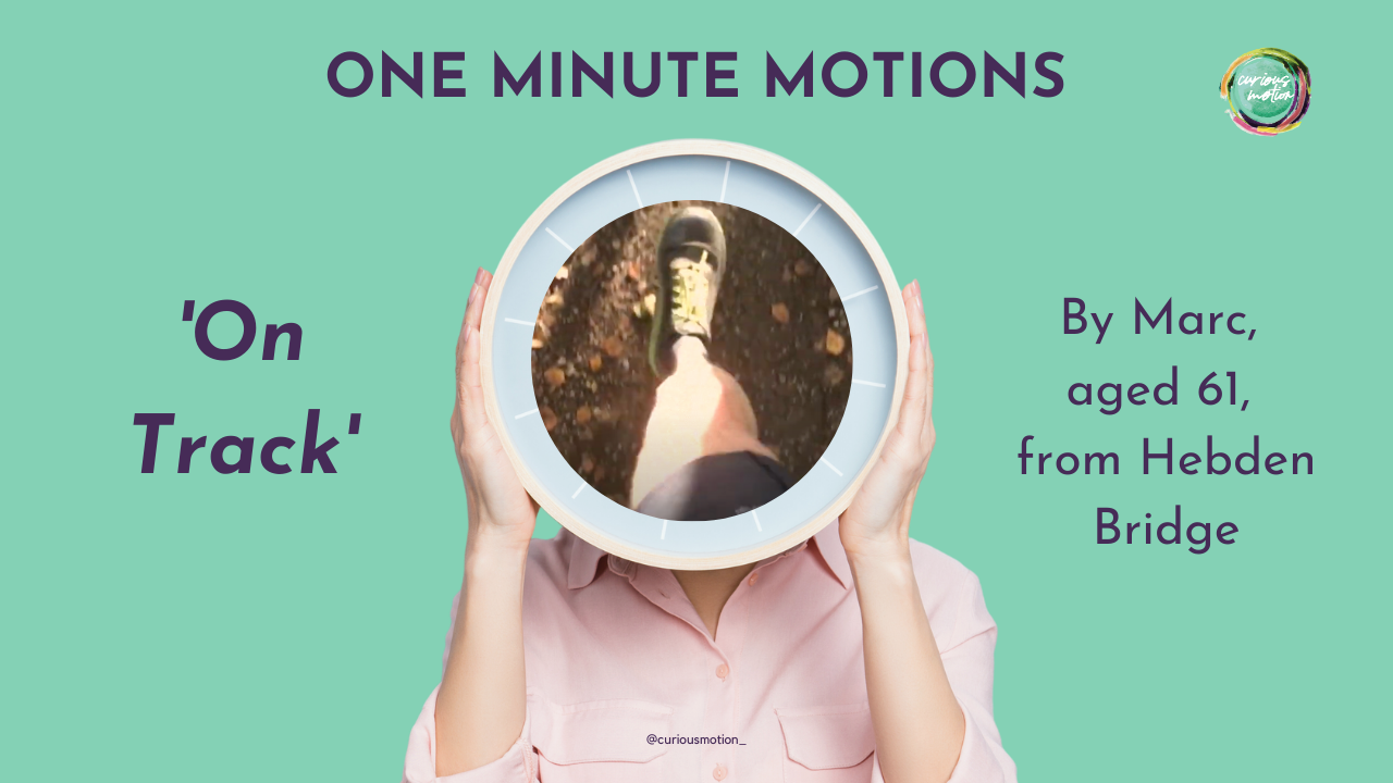 Person holding a clock in front of their face with the picture of a leg running in