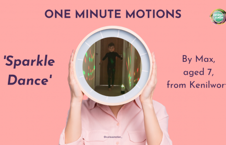 Person holding a clock in front of their face with the picture of a person dancing in