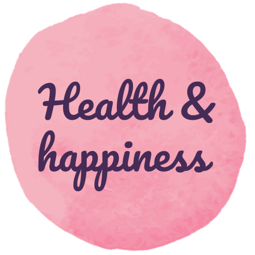A pink circle with 'health & happiness' written inside.