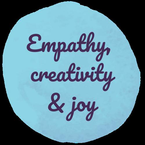 A blue circle with 'empathy, creativity, & joy' written inside.