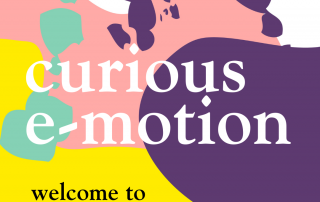 Podcast logo with the title 'curious e-motion' followed by 'welcome to series 2'