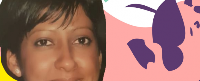 A photo of Dipika on podcast branding background - as asian female, smiling at the camera. Her name is written in white on a green background below her photo.