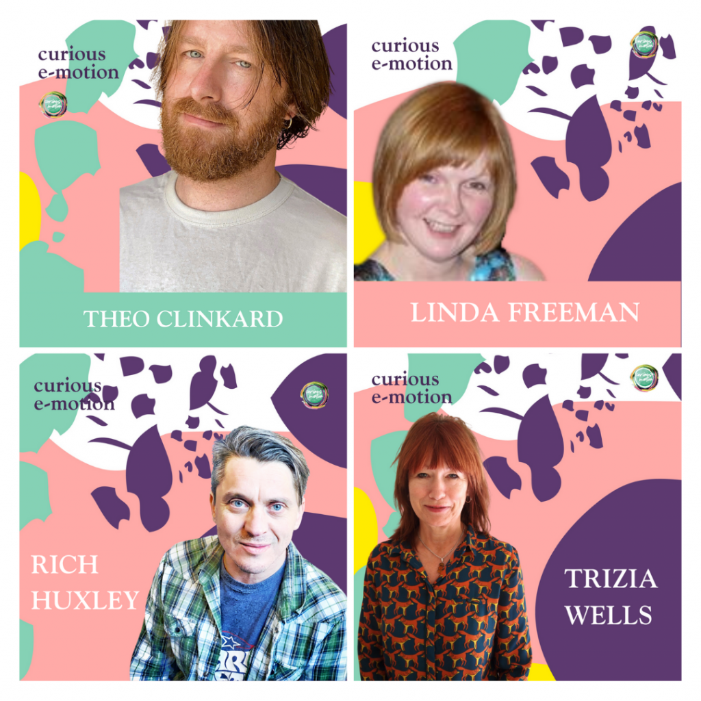 Image of 4 tiles for 4 podcast episodes. Each tile has a photo of the person and their name against a background of pastel coloured shapes