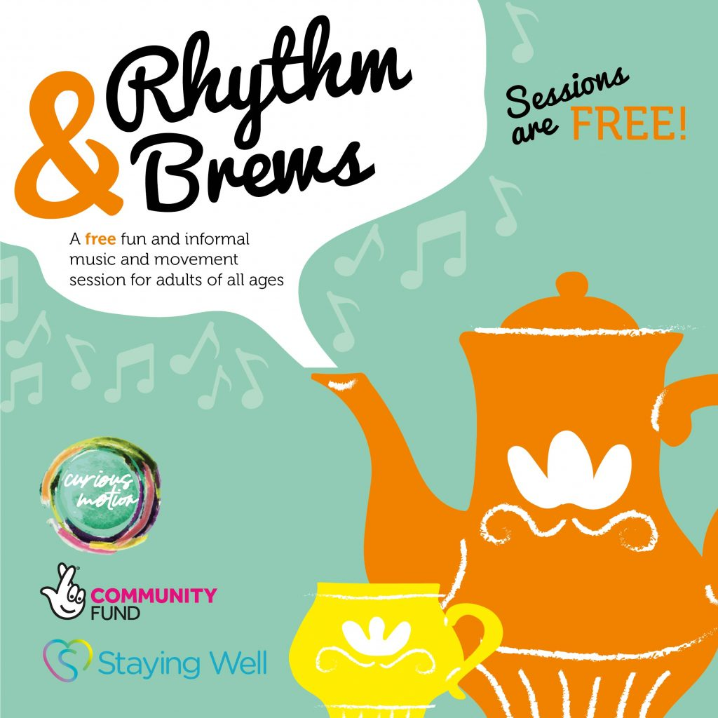 Flyer for Rhythm & Brews - a large orange teapot and small yellow tea cup on a green background. The title 'Rhythm & Brews' is in a steam cloud from the tea pot and surrounded by musical notes.
